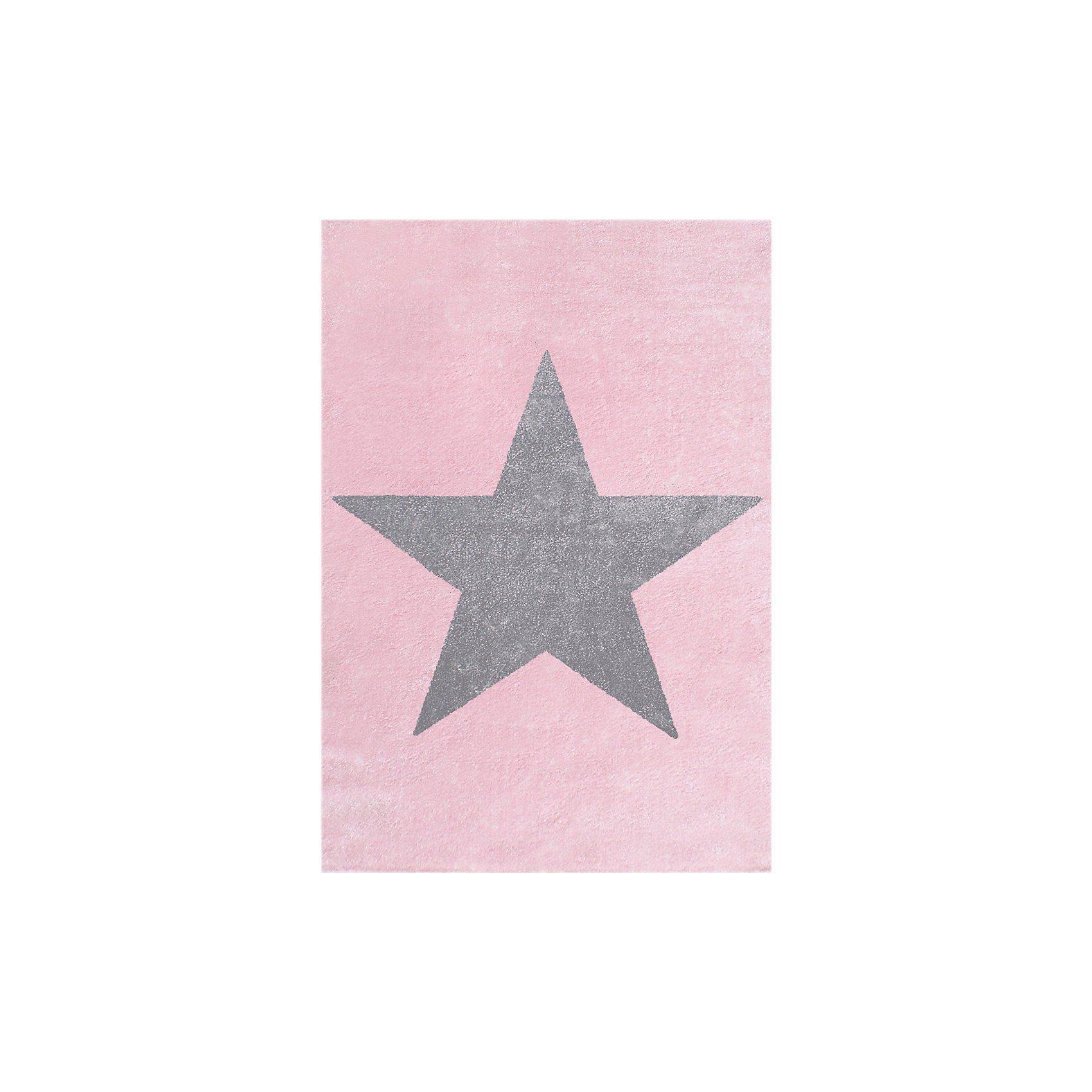 Happy Rugs Kinderteppich, STAR rosa/silbergrau