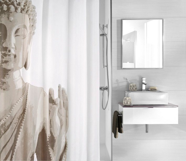 KLEINE WOLKE Duschvorhang »Buddha«, Breite 180 cm