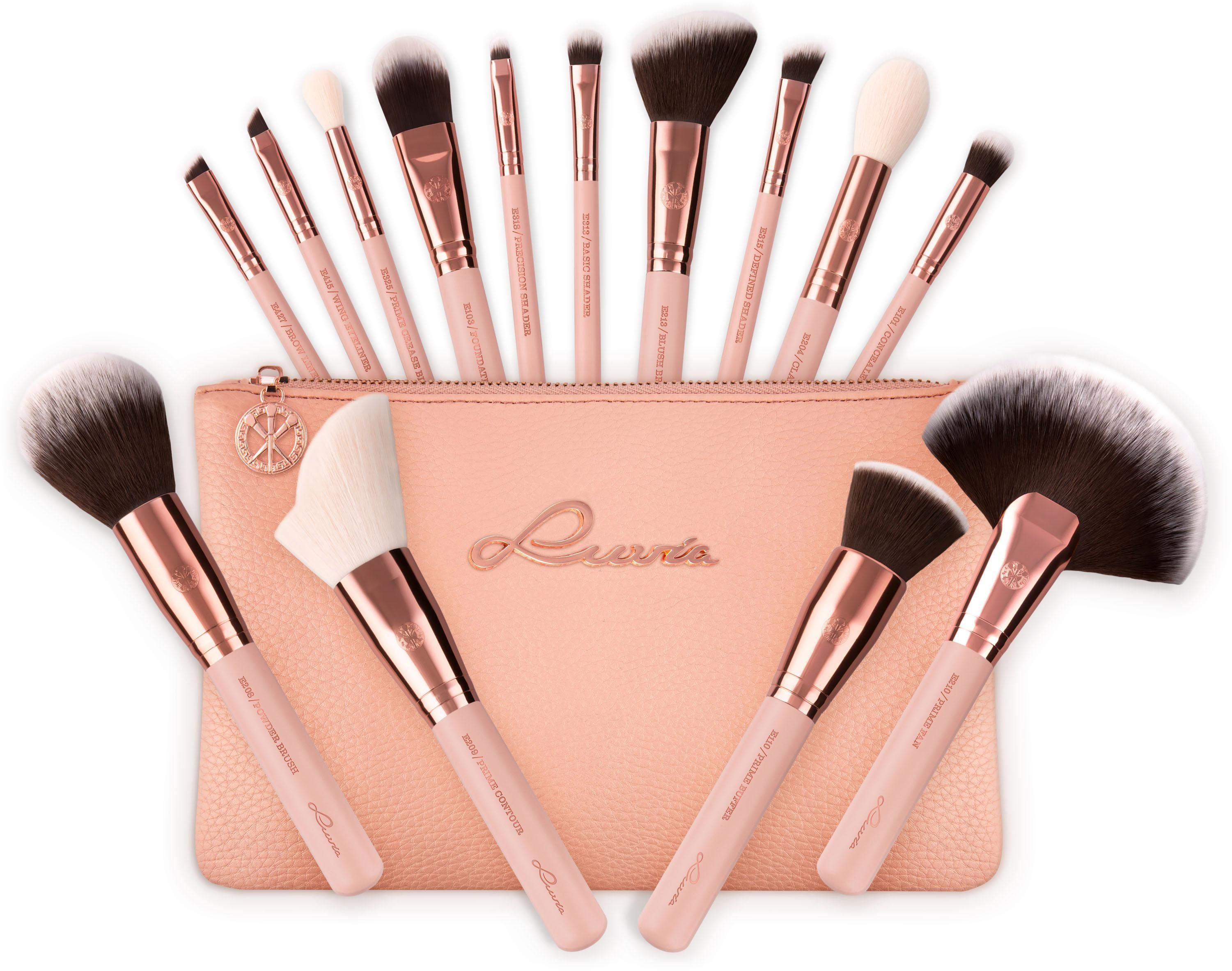 Luvia Cosmetics, »Essential Brushes - Rose Golden Vintage«, Veganes Make-Up Pinselset mit Pinseltasche