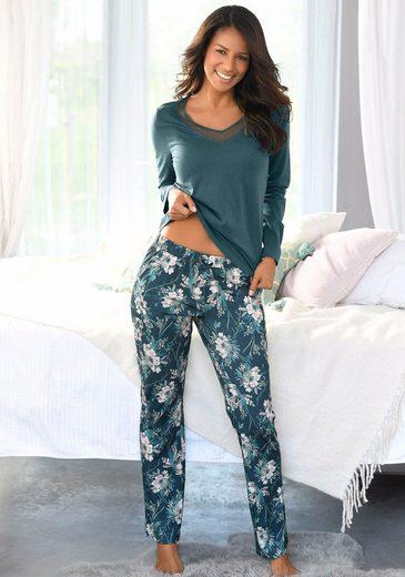 Vivance Dreams Pyjama mit langer Hose im floralen Print