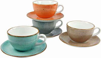 CreaTable Cappuccinotasse »VINTAGE NATURE«, Porzellan, 4 Tassen, 4 Untertassen