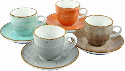 CreaTable Espressotasse »VINTAGE NATURE«, Porzellan, 4 Tassen, 4 Untertassen