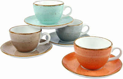 CreaTable Tasse »VINTAGE NATURE«, Porzellan, 4 Tassen, 4 Unterteller