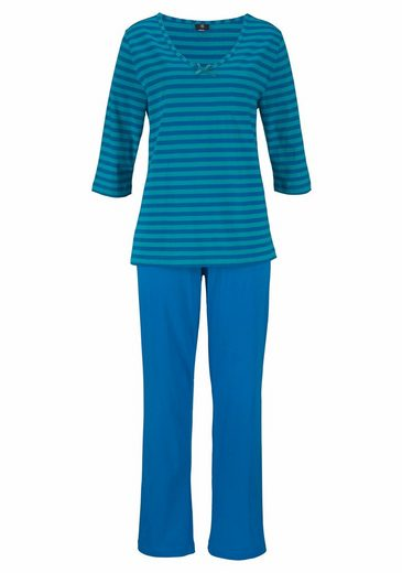 His Pajama With Striped Design With A 3/4-sleeves