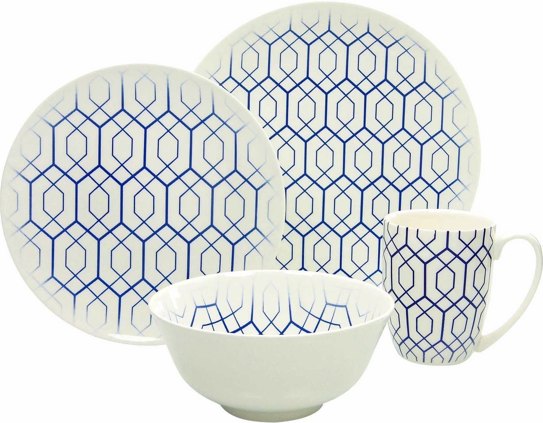 GUIDO MARIA KRETSCHMER HOME & LIVING Single-Set, Steinzeug, 4 Teile, »BLUE STYLE«