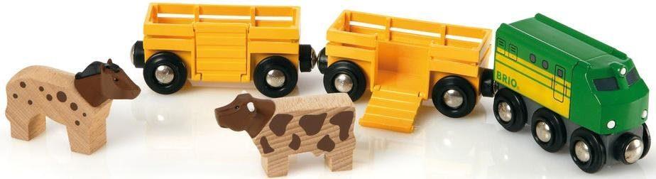 BRIO® Spielzeugeisenbahn mit Viehtransporter Waggons, »Brio WORLD Bauernhof Zug«