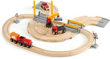 BRIO® Spielzeug-Zug »Brio WORLD Straßen & Schienen Kran Set«, (Set), für Spielzeugeisenbahn