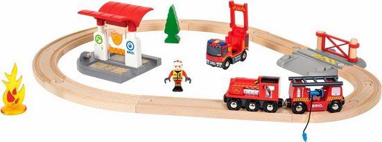 BRIO® Spielzeug-Eisenbahn »Brio WORLD Feuerwehr Set«, (Set), mit Licht und Soundfunktion