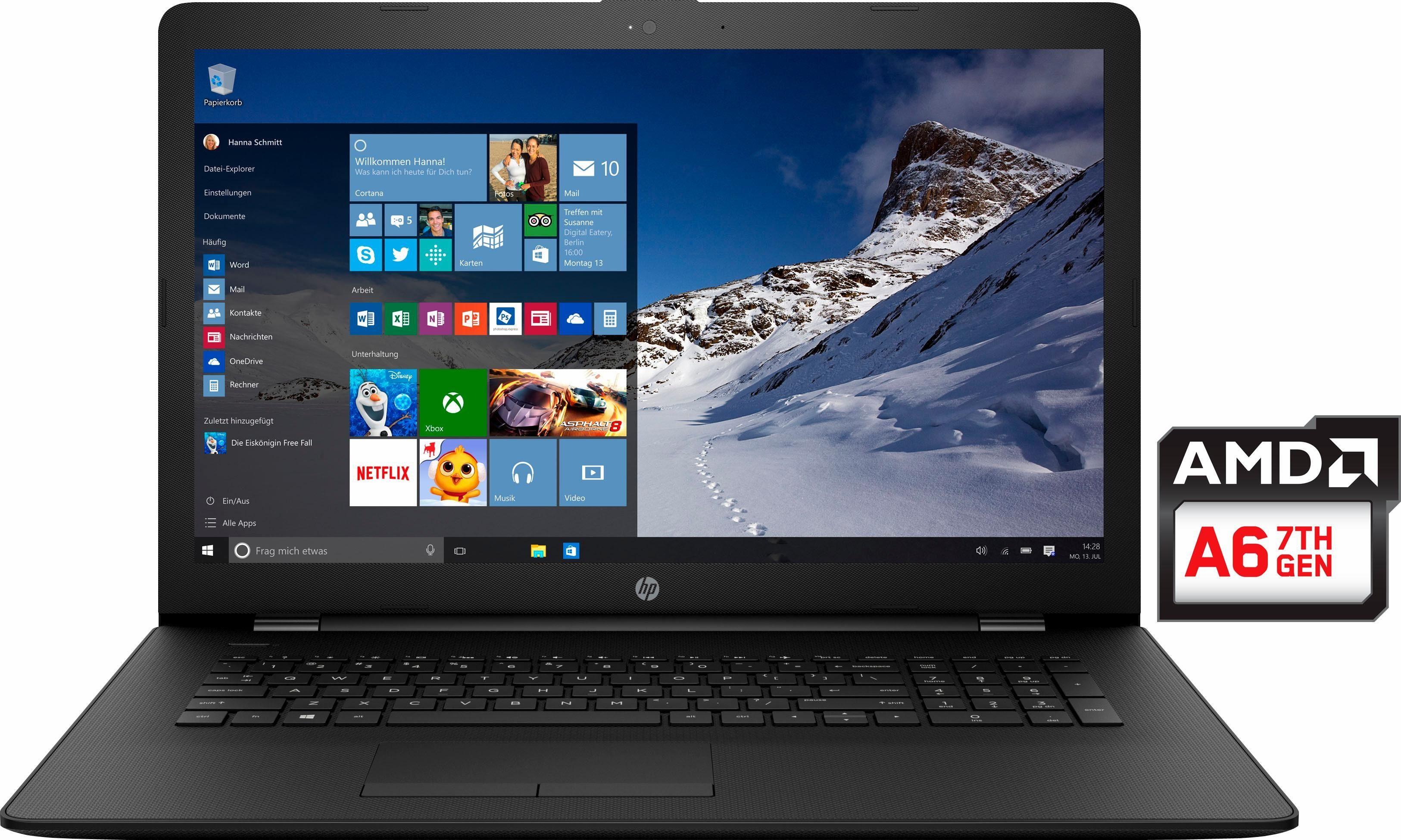 HP 17-ak043ng Notebook, AMD Dual Core, 43,9 cm (17,3 Zoll), 1000 GB Speicher, 4096 MB DDR4-SDRAM
