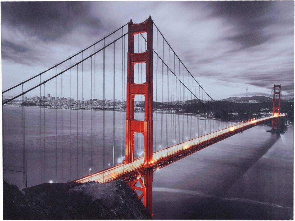 home affaire led bild golden gate bridge 80 60 cm. Black Bedroom Furniture Sets. Home Design Ideas