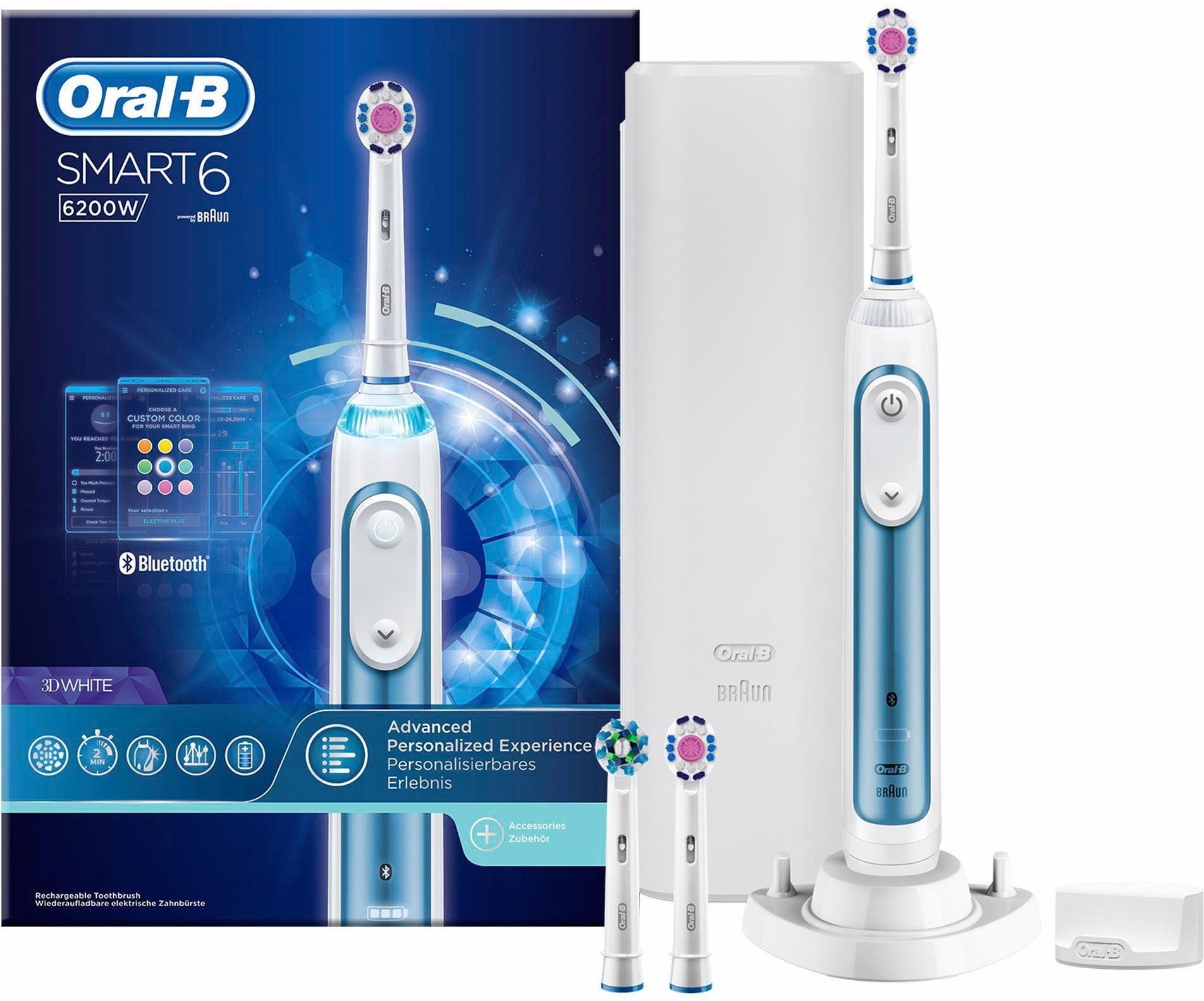 Oral B Elektrische Zahnbürste Smart 6 6200W, Aufsteckbürsten: 3 St., Powered By Braun