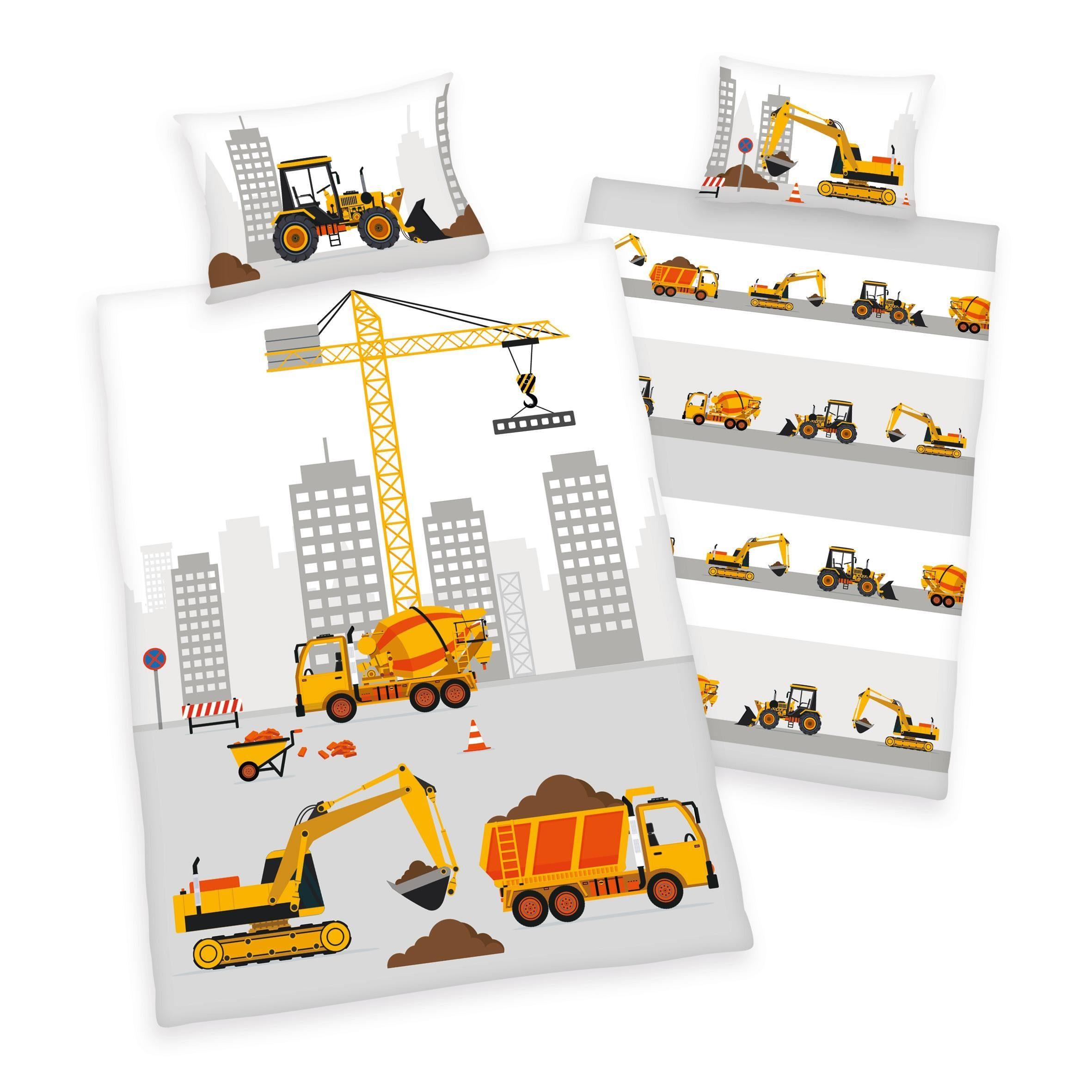 Babybettwäsche »Stadt Baustelle«, Herding, mit Baufahrzeugen