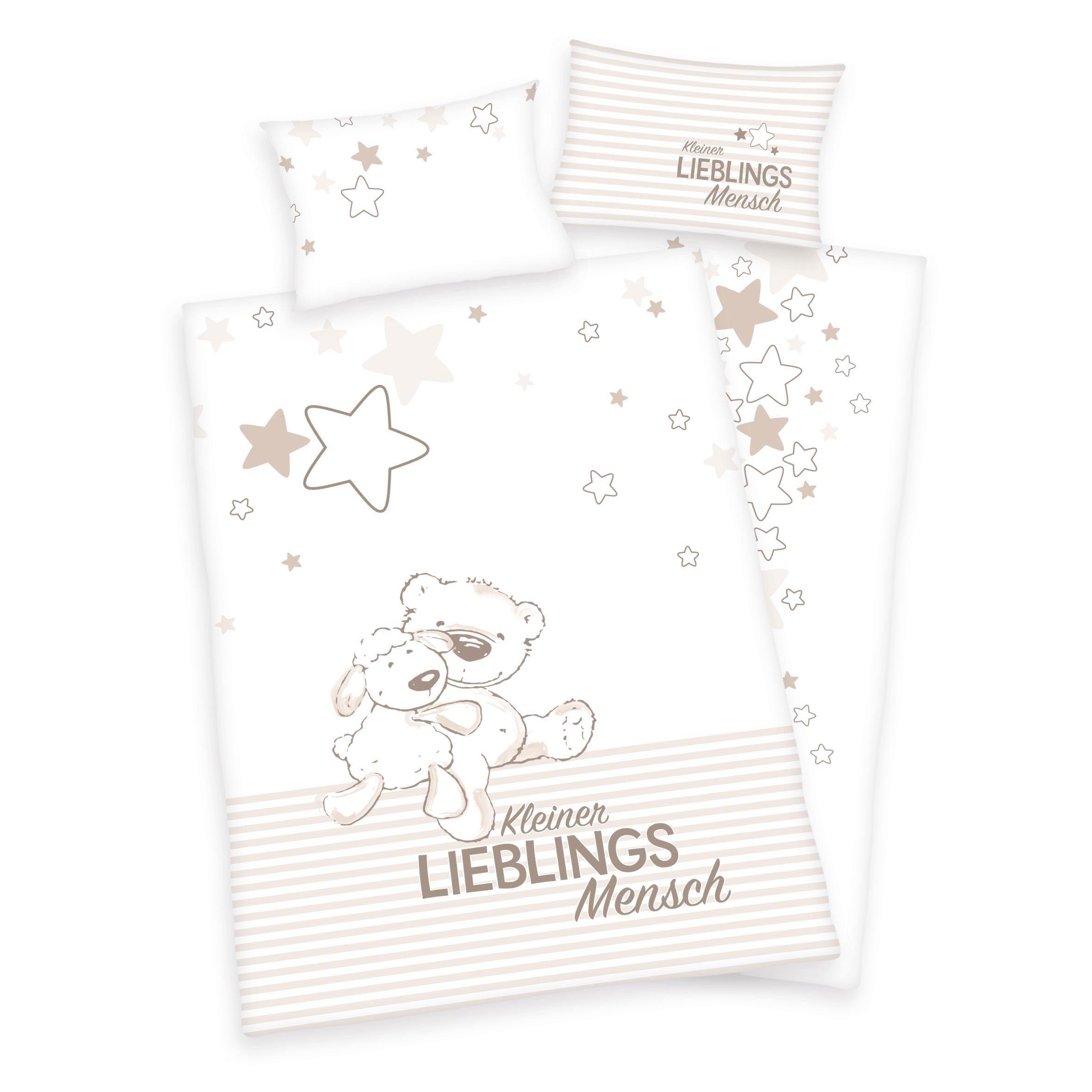 Babybettwäsche »Kleiner Lieblingsmensch«, Herding, Mit Teddy und Schaf