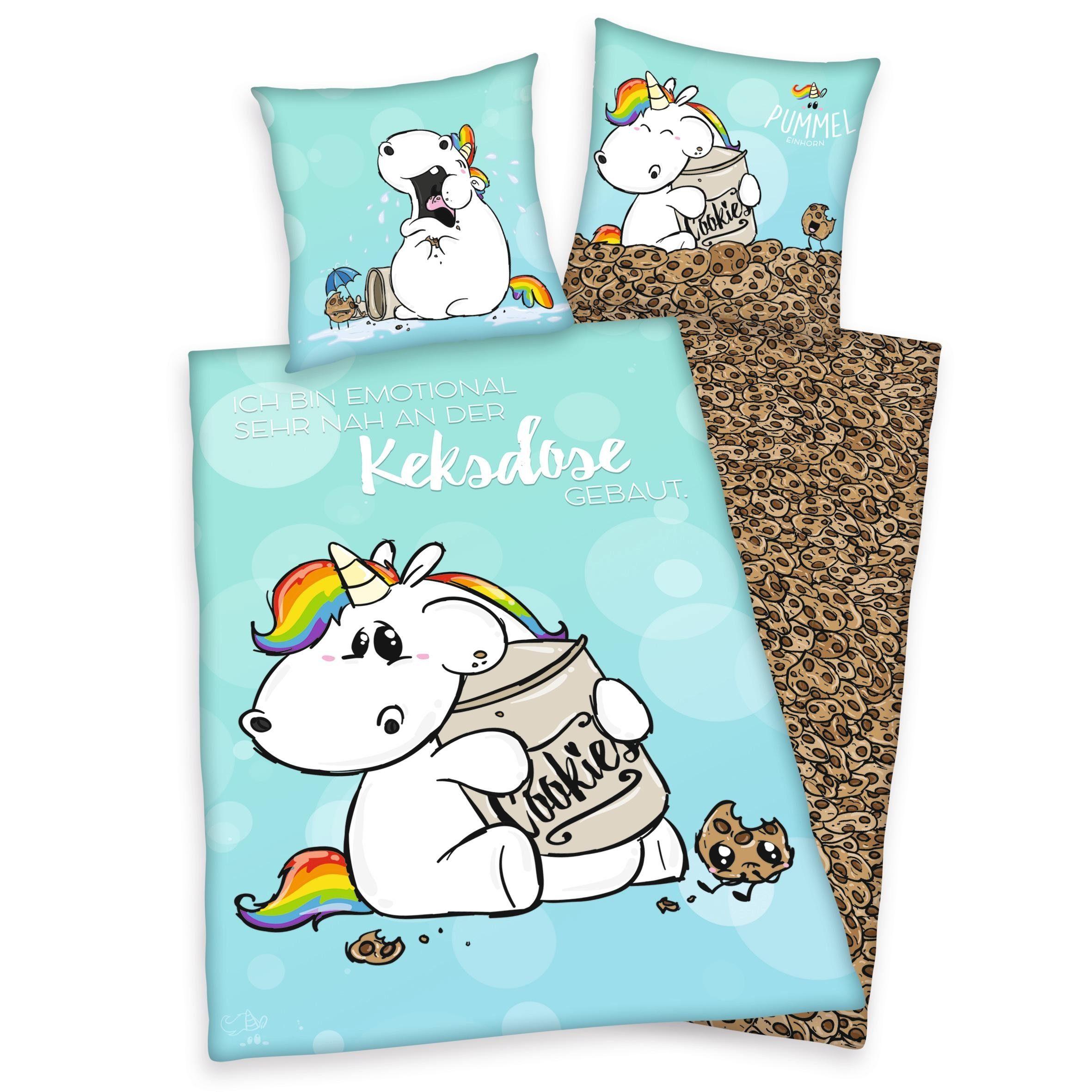 Bettwäsche »Keksdose«, Pummeleinhorn, mit Pummeleinhorn und Keksen