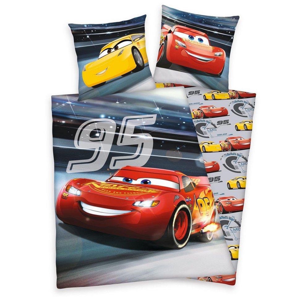 kinderbettw sche cars rennen walt disney leuchtet im. Black Bedroom Furniture Sets. Home Design Ideas