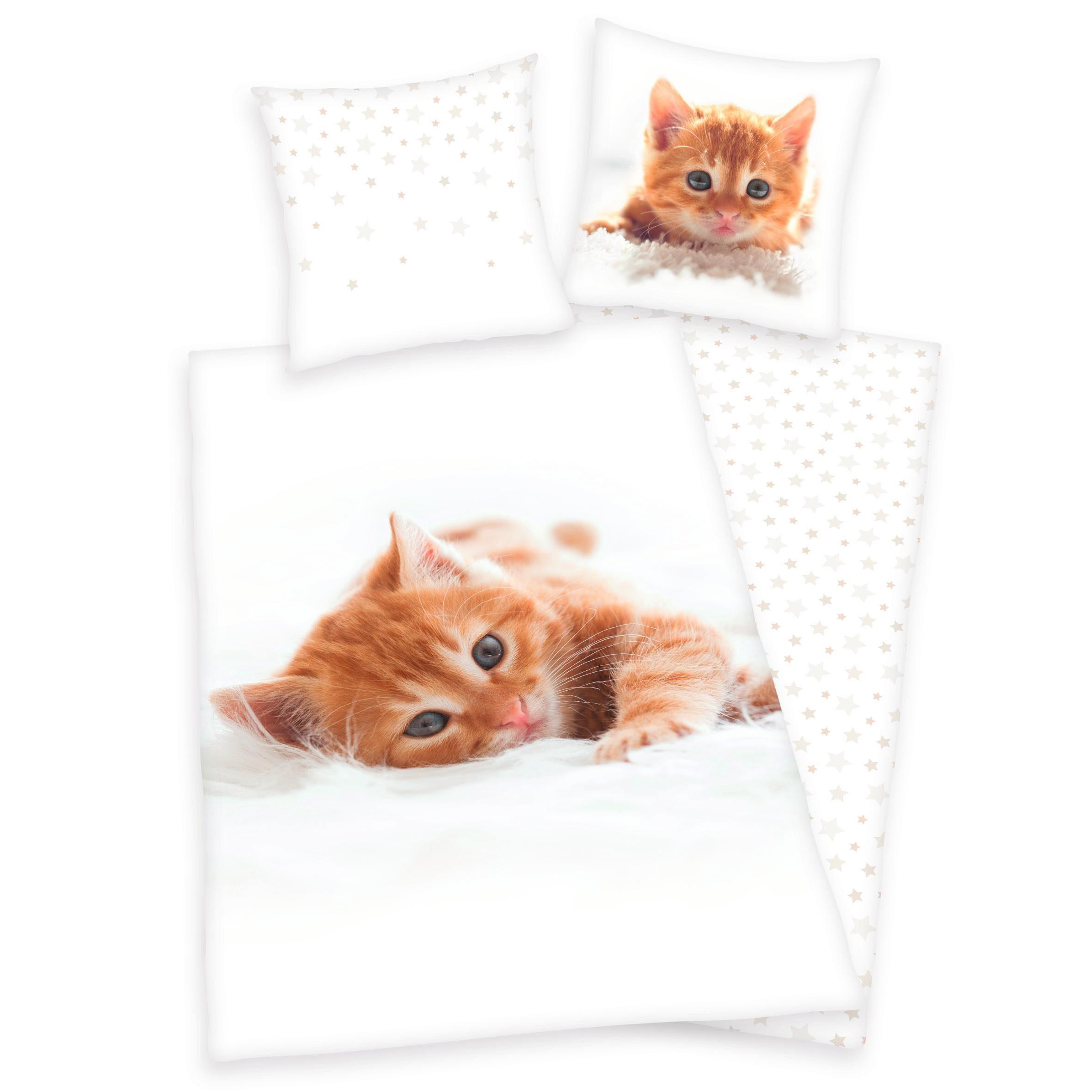 Kinderbettwäsche, Young Collection, »Katze«, mit Stern-Wendeseite