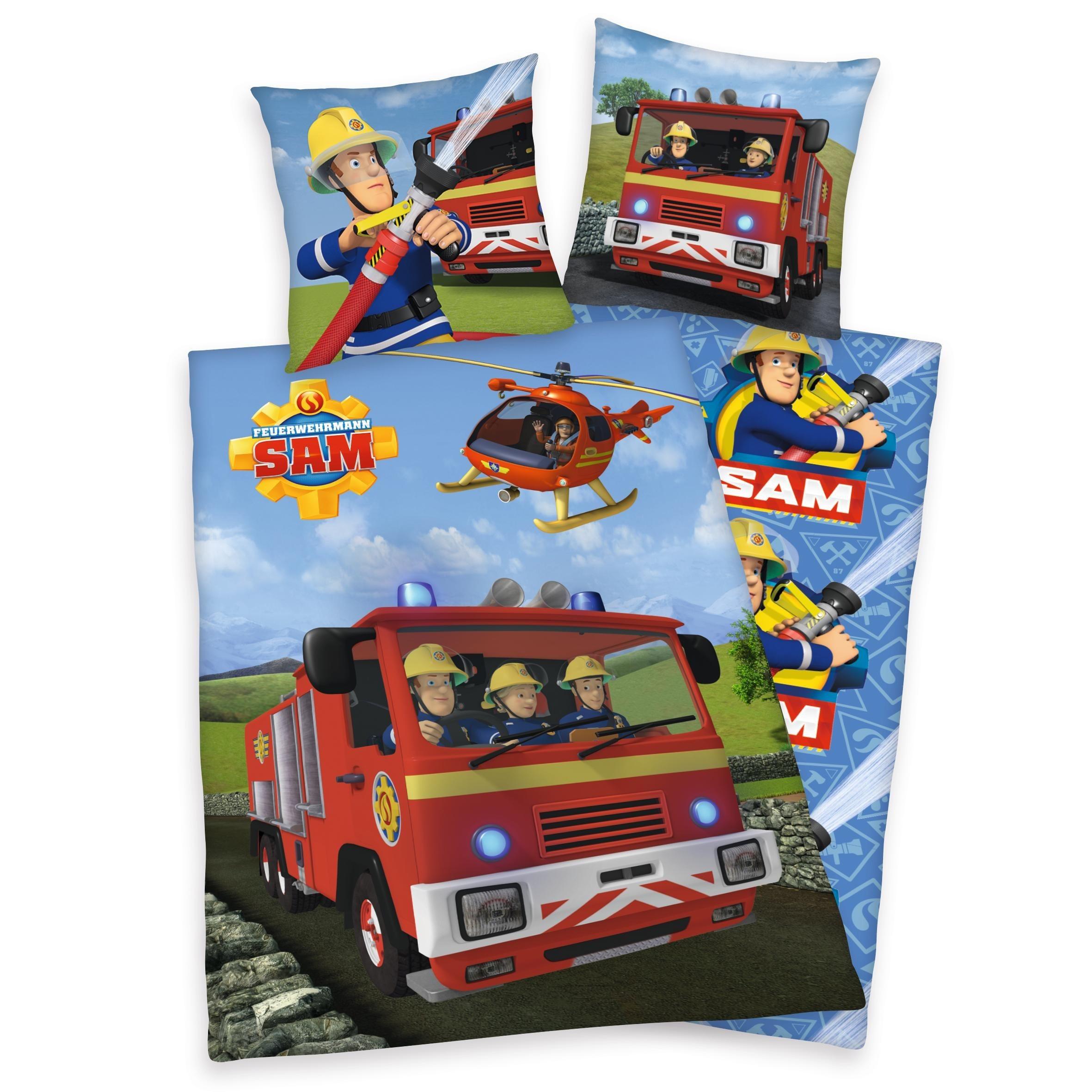 Kinderbettwäsche »Sam im Einsatz«, Feuerwehrmann Sam, mit Feuerwehrauto und Hubschrauber | Kinderzimmer > Textilien für Kinder > Kinderbettwäsche | Feuerwehrmann Sam