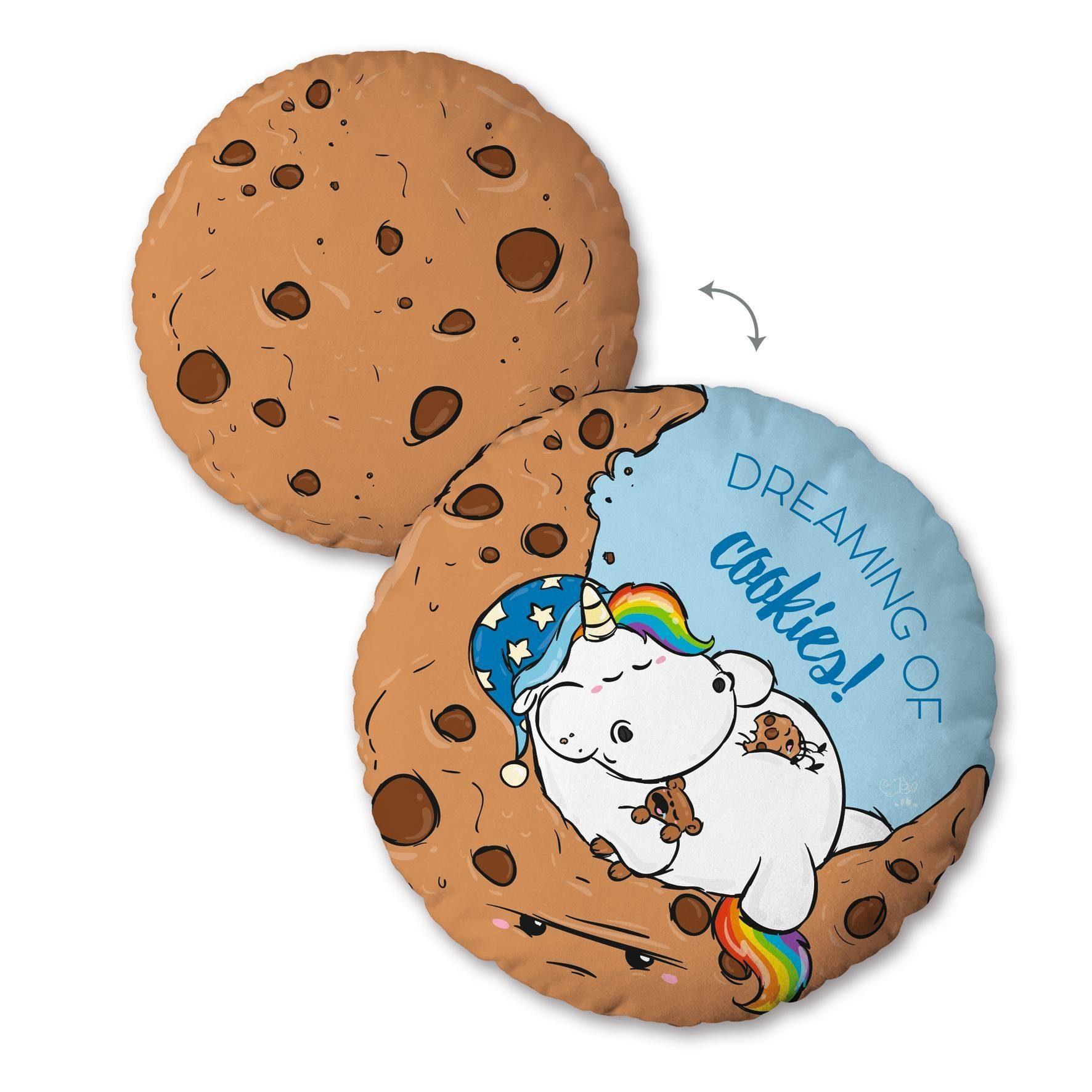 Dekokissen, Pummeleinhorn, »Cookies«, mit schlafendem Pummeleinhorn