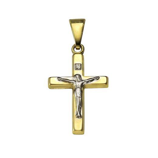 Vivance Anhänger »333/- Gelbgold zweifarbig rhodiniert Kreuz«