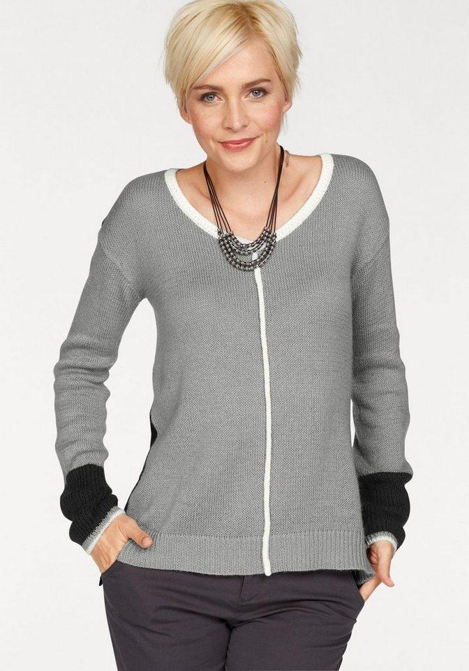 Damen Boysen s V-Ausschnitt-Pullover im modischen Colorblocking grau | 08940002201352