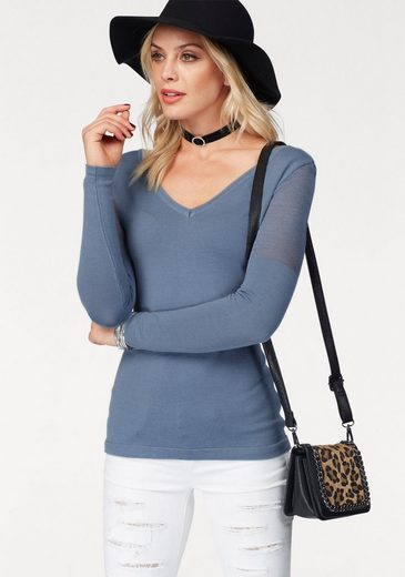 Melrose V-Ausschnitt-Pullover, mit transparentem Netzstrick