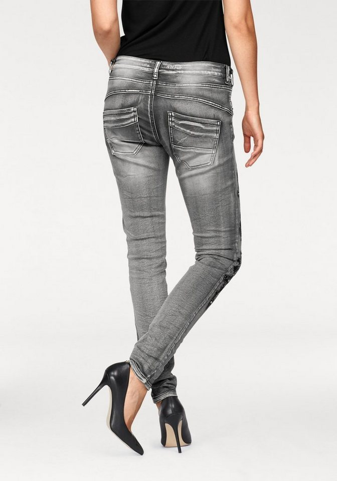 Damen Blue Monkey Skinny-fit-Jeans HONEY, mit Stickerei und Glitzersteinen grau | 04060066057604