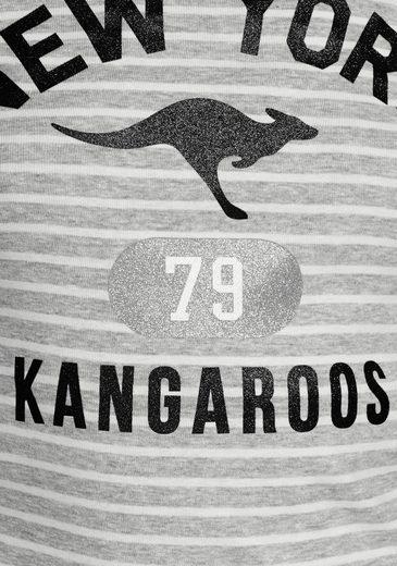 KangaROOS Langarmshirt, mit Frontprint im Glitzer-Optik