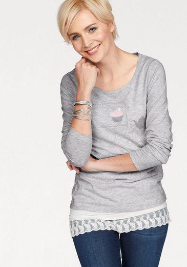 Boysen's Rundhalsshirt, mit zartem Frontprint in Pastellfarben