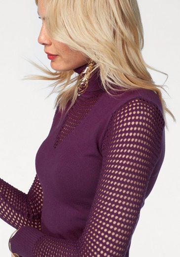 Melrose Rollkragenpullover, mit trendy Netzstrick