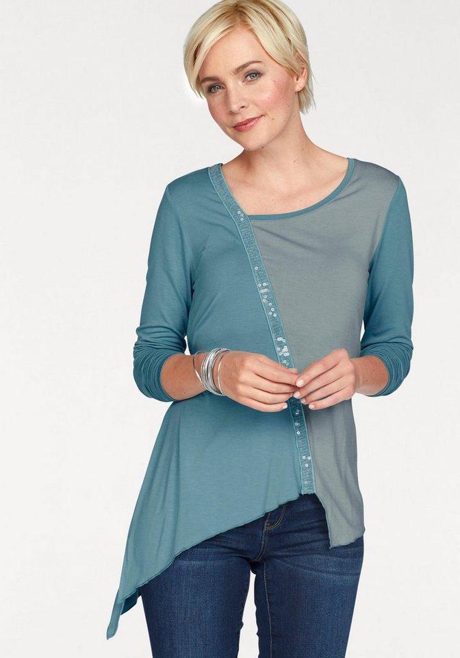 Boysen´s Zipfelshirt mit Pailletten bestickt | Bekleidung > Shirts > Zipfelshirts | Blau | Boysen´s
