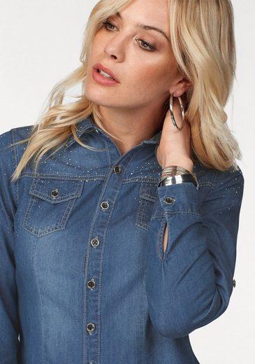 Melrose Jeansbluse, mit Strasssteinen