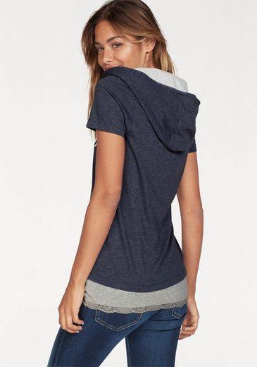 KangaROOS Print-Shirt (Set, 2 tlg., mit Top), mit kontrastfarbenem Kapuzenfutter