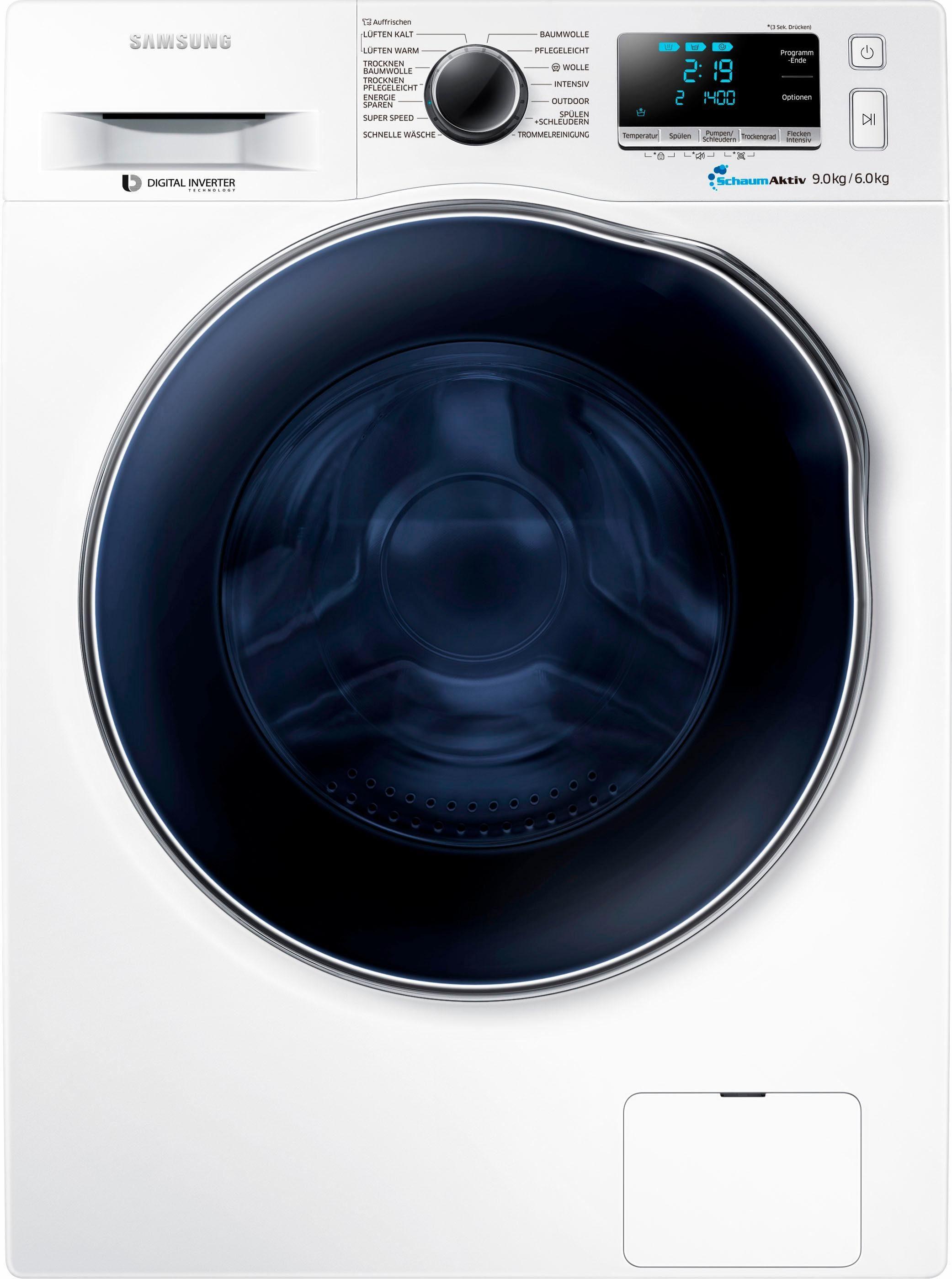Samsung Waschtrockner WD6000, 9 kg/6 kg, 1400 U/Min, Super Speed
