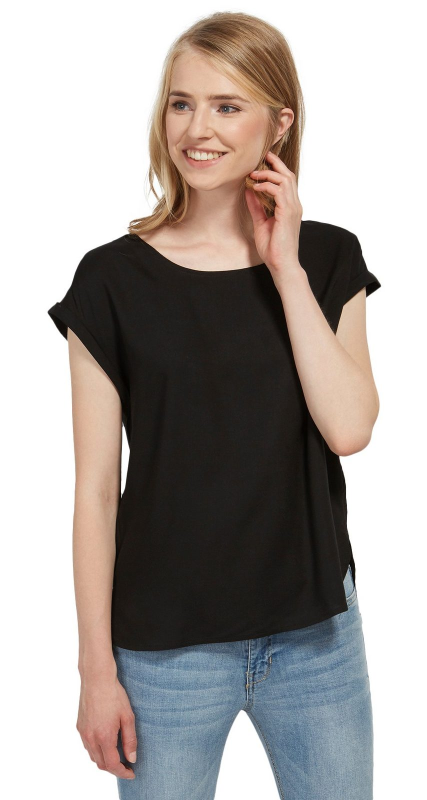 TOM TAILOR DENIM Bluse »schlichte Kurzarm-Bluse«