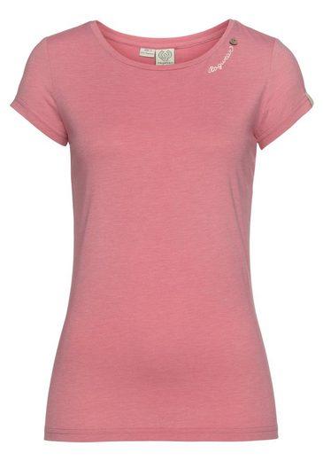 Ragwear T-Shirt »MINT O« mit Logoschriftzug und Zierknopf-Applikation in natürlicher Holzoptik