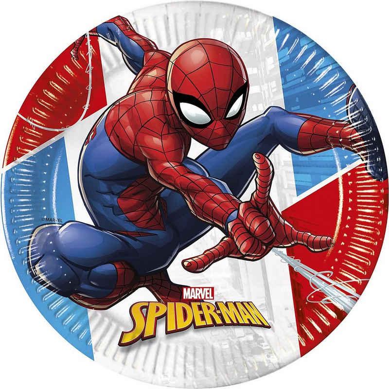 Procos Teller »Spiderman Kompostierbar 8 Pappteller 23 cm Design«