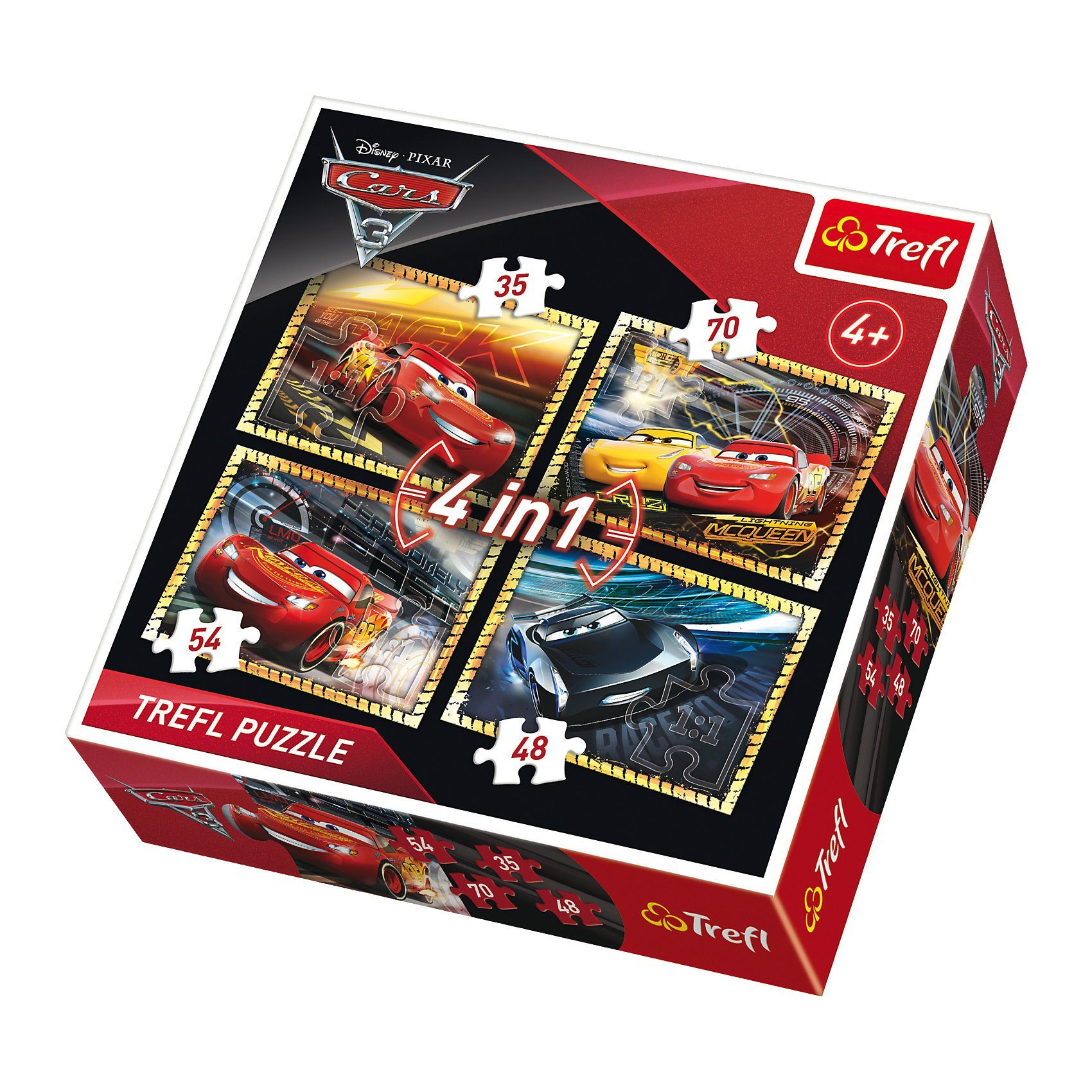 Trefl Puzzles 4in1 - 35/48/54/70 Teile - Cars 3