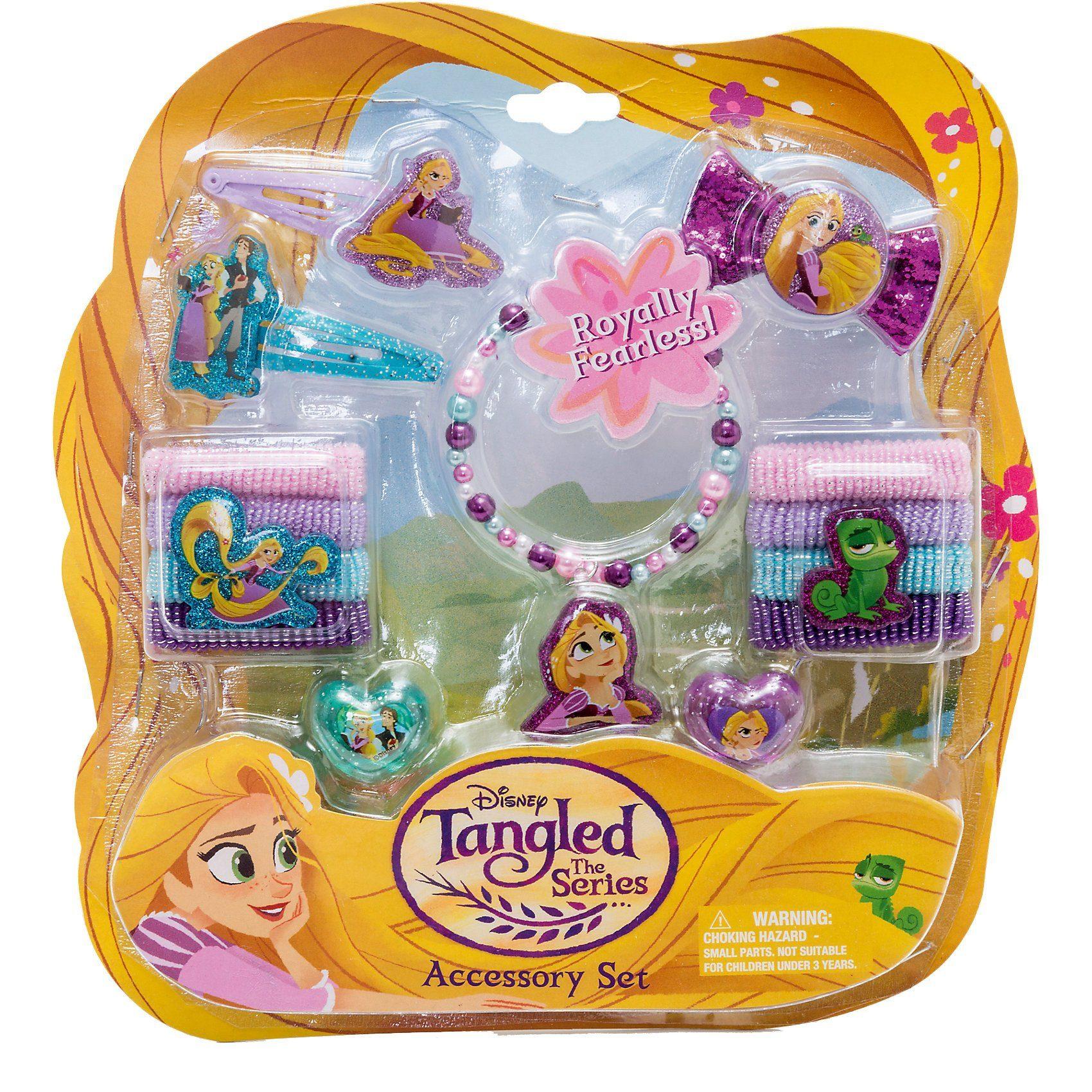 JOY TOY Rapunzel Schmuckset mit 2 Glitzerhaarspangen, 8 Haarbänder,