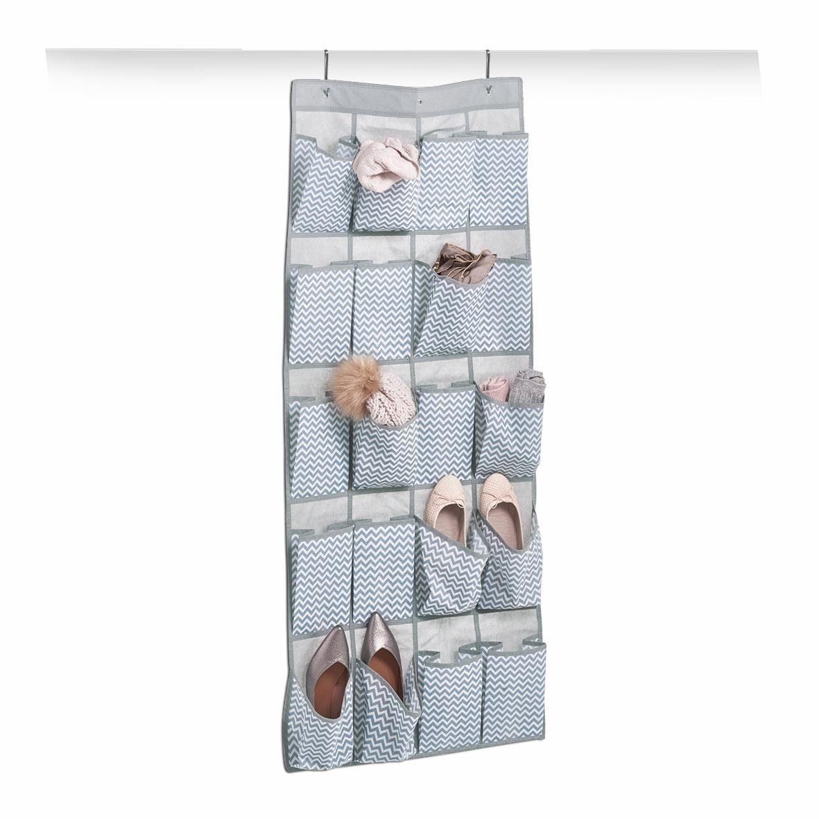 andas Hänge-Aufbewahrung, 20 Fächer, Vlies, weiß/grau 56x136