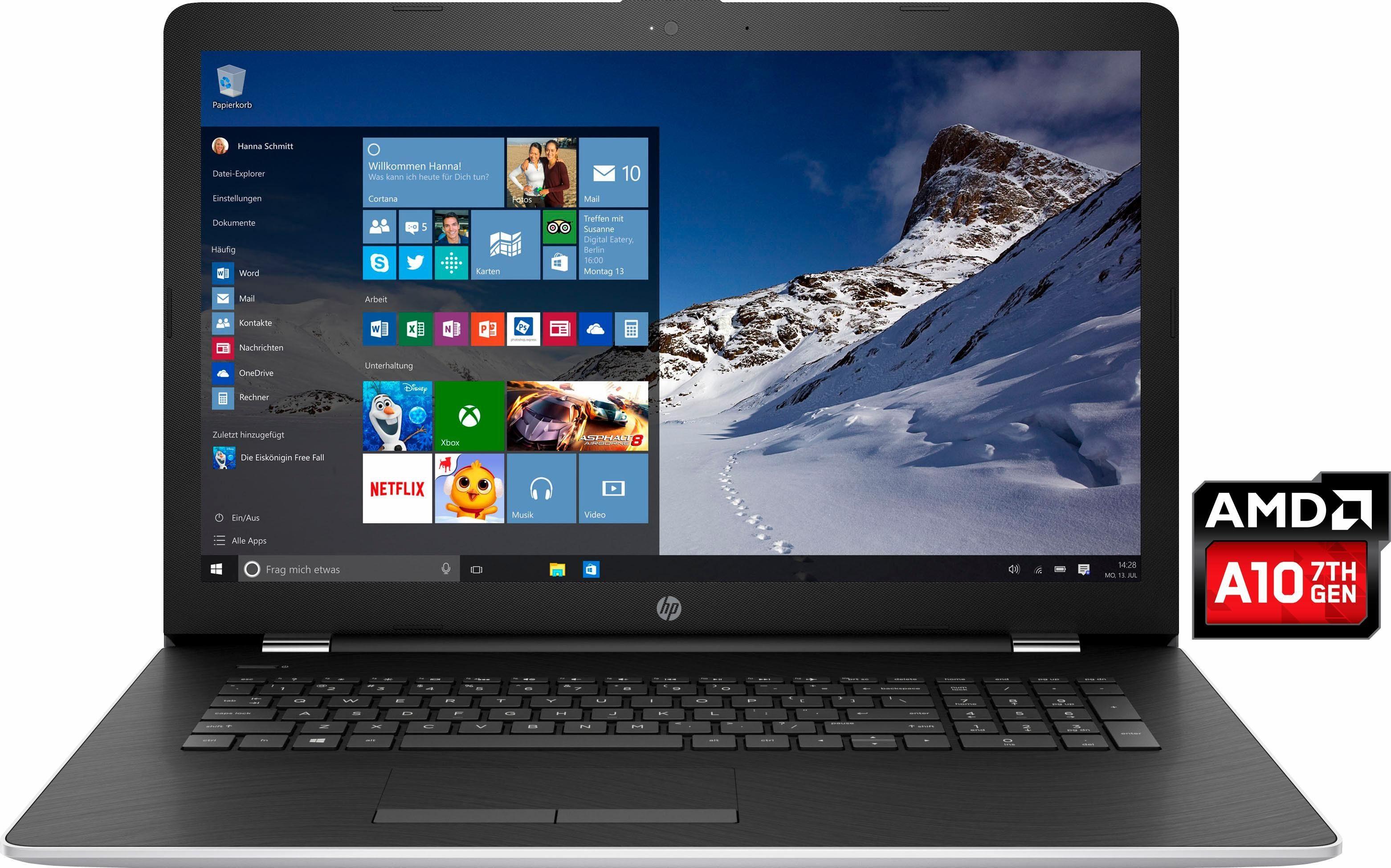 HP 17-ak013ng Notebook, AMD Quad Core A10, 43,9 cm (17,3 Zoll), 1128 GB Speicher, 8192 MB DDR4-SDRAM