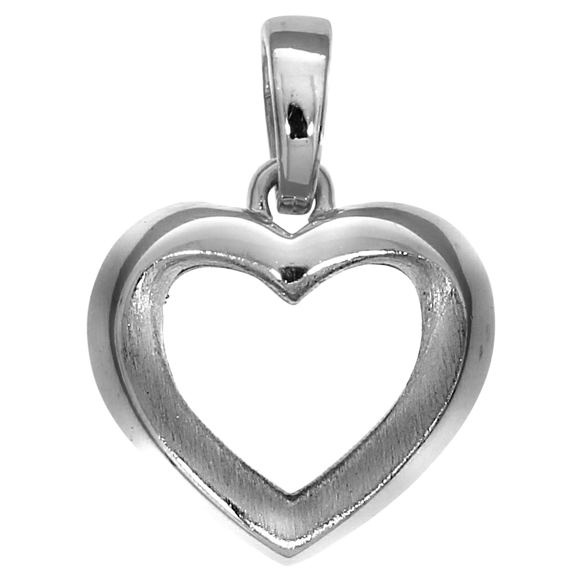 Firetti Anhänger »925/- Sterling Silber rhodiniert Herz« | Schmuck > Halsketten > Herzketten | Silber - Matt - Glanz | Firetti