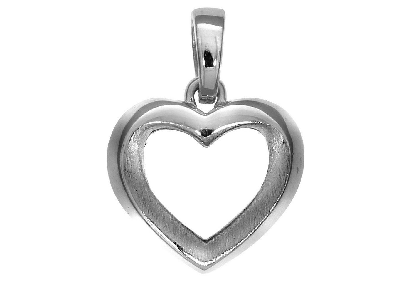 Firetti Anhänger »925/- Sterling Silber rhodiniert Herz« | Schmuck > Halsketten > Herzketten | Weiß | Firetti