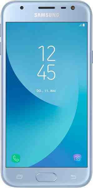 Samsung Galaxy J3 (2017) DUOS Smartphone (12,7 cm/5 Zoll, 16 GB Speicherplatz, 13 MP Kamera, Multi Window, FaceWidgets, Bildschirmschoner)