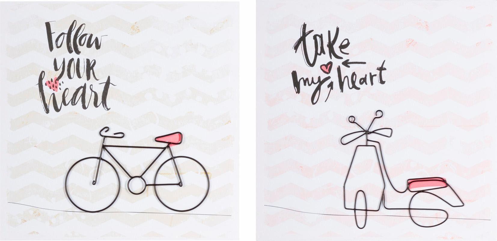Home affaire Deko-Bild »Fahrräder« (2er Set)