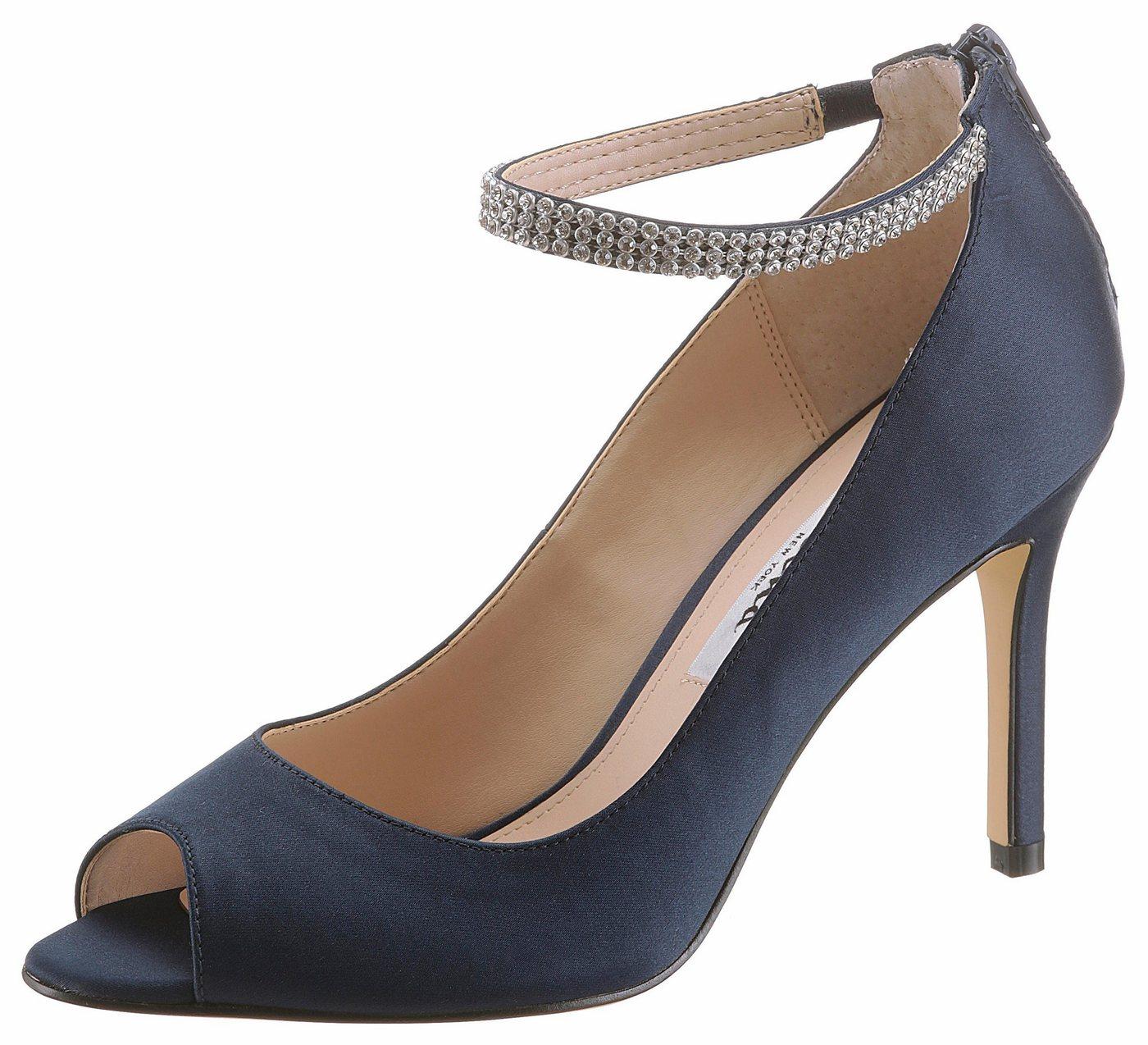 Damen Nina  Peeptoepumps mit funkelnden Riemchen blau | 00716142984695