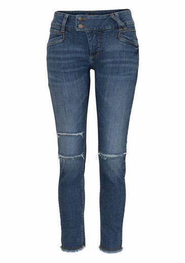 Glücksstern Stretch-Jeans Nina, mit Perlenkette unterlegter Riss am rechten Bein