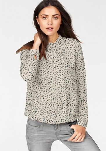 Re.draft Print Blouse, With Great Stehkragen