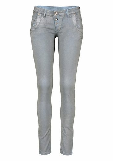 Glücksstern Stretch-Jeans Petra, im silberfarbenen Sprayed-Look