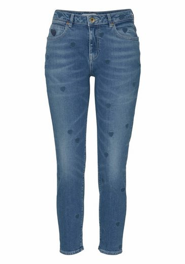 Scotch & Soda Boyfriend-Jeans Petit Ami, mit Allover-Herzchen-Stickerei