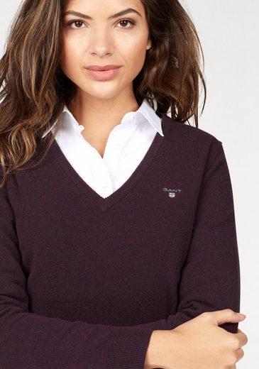 Gant V-Ausschnitt-Pullover, mit kleinem Brustlogo